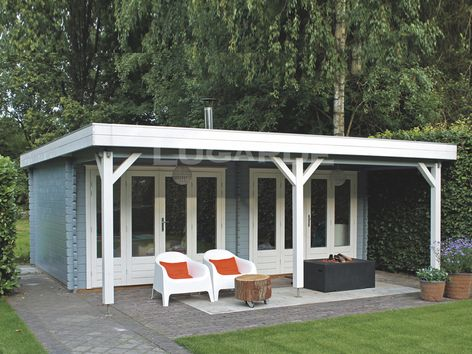 Lund flat roof log cabins from Lugarde