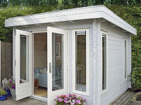 Lyngby flat roof log cabins from Lugarde